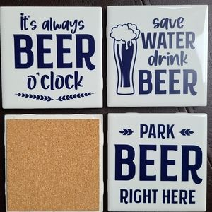 Coasters Set of 4 Beer Lover Set White & Navy Blue
